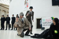 Holmes and Watson look for BP, the world's biggest corporate criminal, in the British Museum. Photo by Kristian Buus