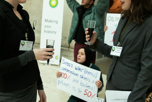 Two key BP staff – the Head of Drilling and Spilling and the Head of Oil and Evil – do their best to ignore protesters calling for justice for the people of Iraq